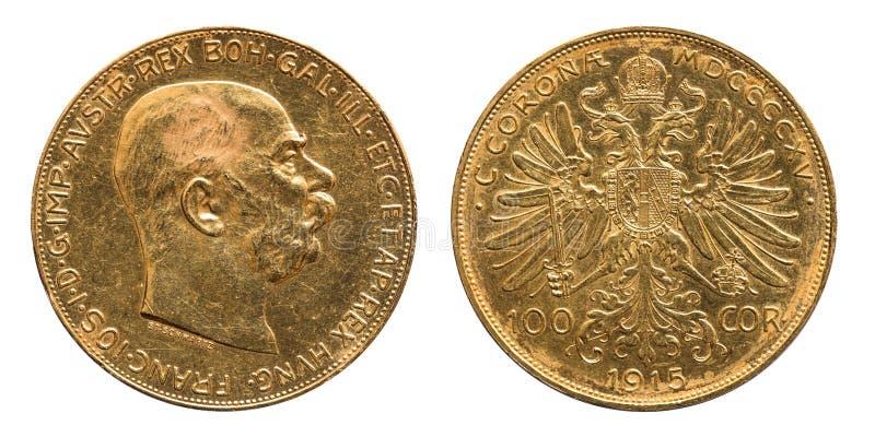 Pièce d'or de couronnes de l'Autriche 100 1915 image libre de droits