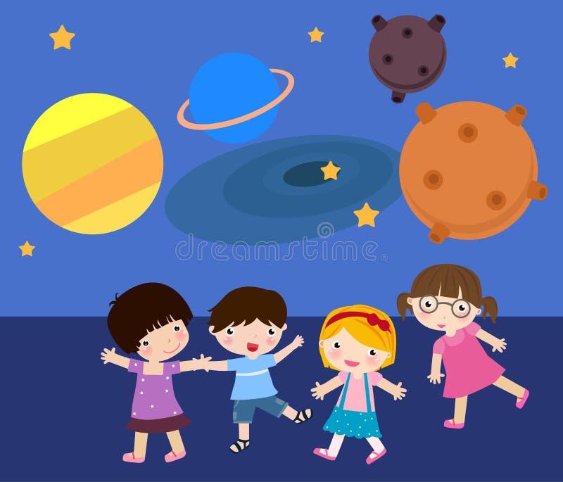 Pièce d'enfants dans le planétarium illustration stock