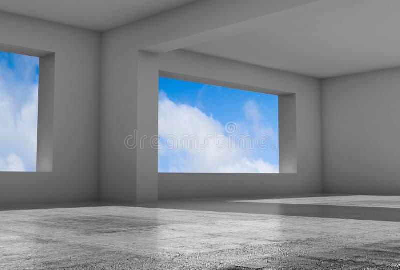 Pièce 3d grise vide avec les fenêtres larges illustration libre de droits