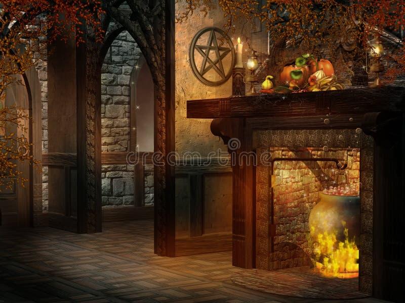 Pièce d'imagination avec la cheminée et la corne d'abondance illustration stock