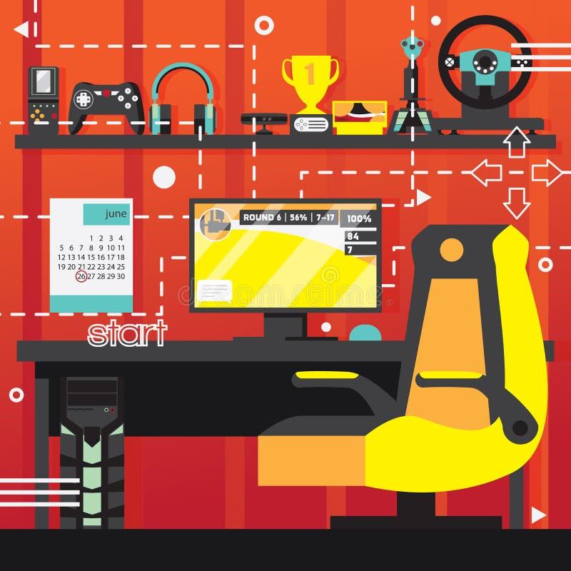 Pièce d'intérieur de jeu vidéo Ordinateur et chaise pour jouer, contrôleurs et manettes pour le joueur Composition carrée illustration libre de droits