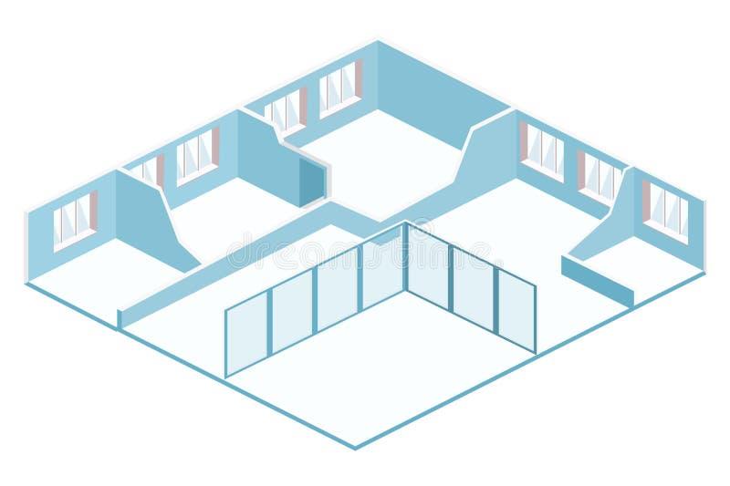 Pièce 3D vide intérieure abstraite plate isométrique illustration de vecteur