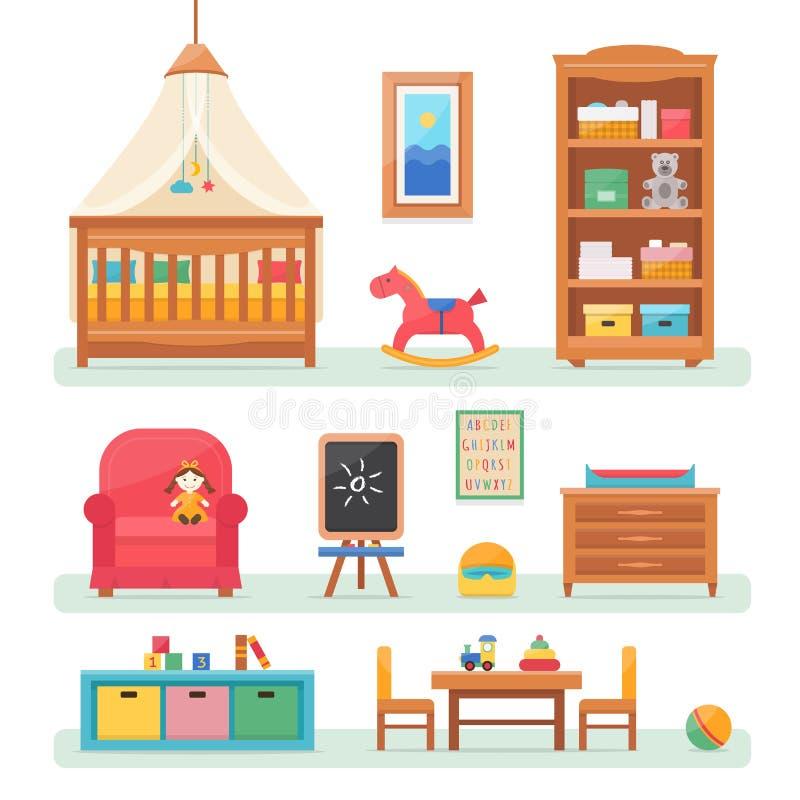 Pièce de bébé avec des meubles illustration de vecteur