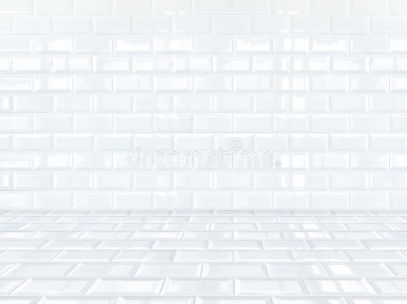 Pièce de briques de céramique blanche de tuile, fond image libre de droits
