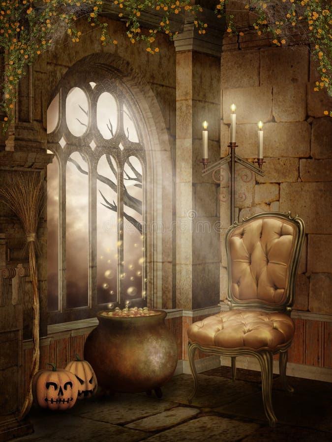 Pièce de château avec des décorations de Veille de la toussaint illustration stock