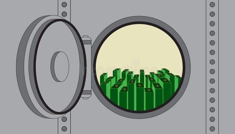 Pièce de chambre forte de banque avec les compartiments de coffre-fort illustration stock