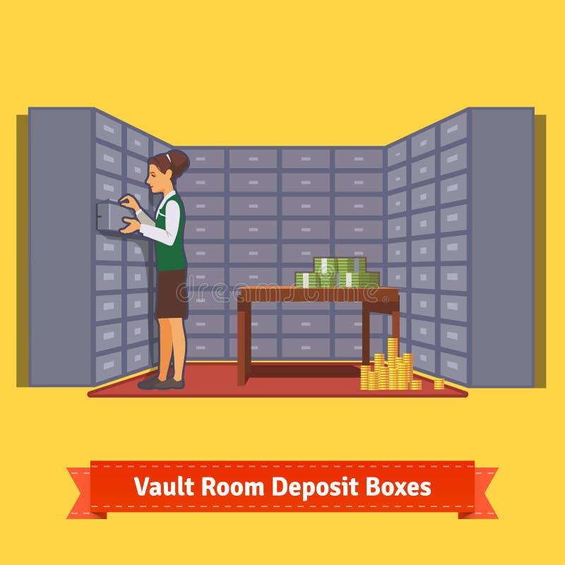 Pièce de chambre forte de banque avec un commis et des boîtes de dépôt illustration libre de droits