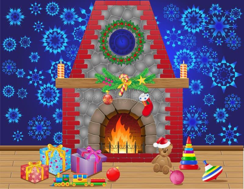 Pièce de cheminée avec des cadeaux de Noël illustration libre de droits