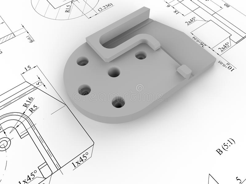 Pièce de conception assistée par ordinateur illustration de vecteur