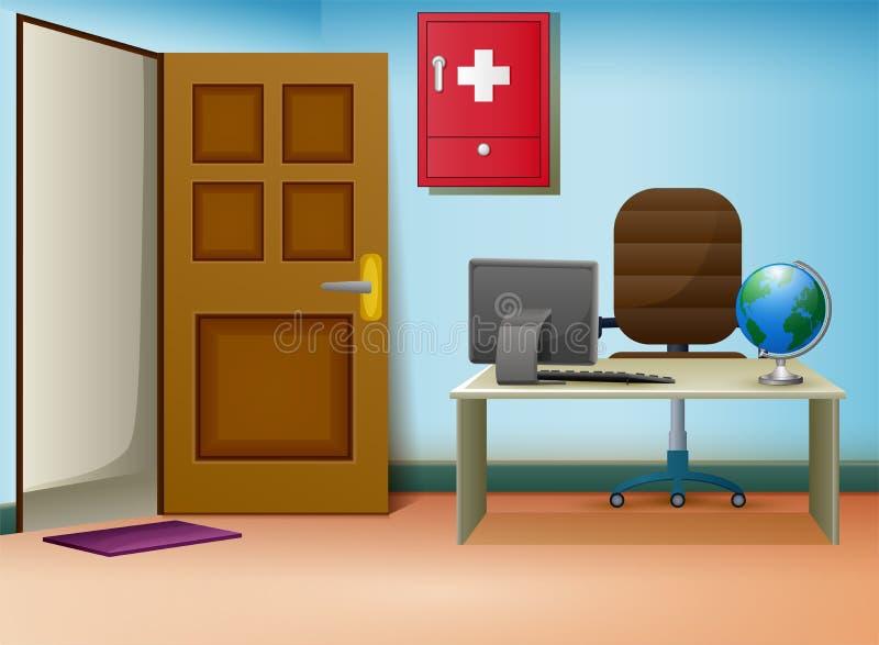 Pièce de consultation de médecins intérieure dans la clinique illustration de vecteur