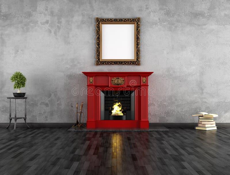 Pièce de cru avec la cheminée illustration de vecteur