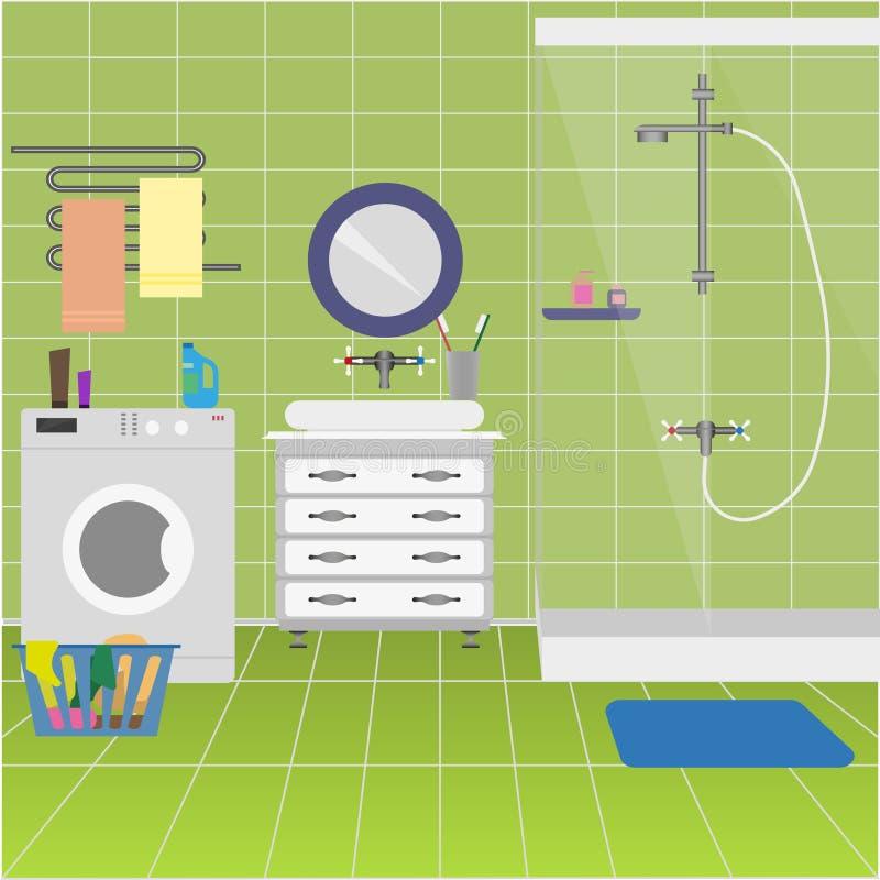 Pièce de douche avec le compartiment de douche, lavabo illustration libre de droits