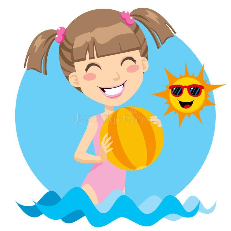 Pièce de fille de plage illustration libre de droits