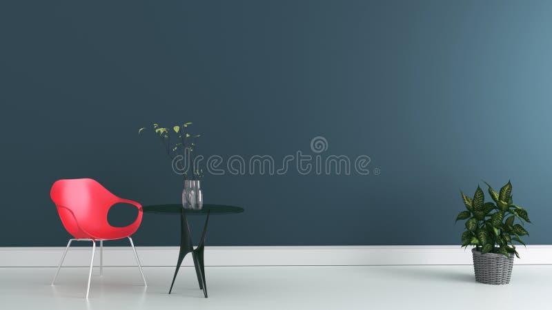 Pièce de fonctionnement avec la chaise et table sur le mur sombre rendu 3d illustration de vecteur
