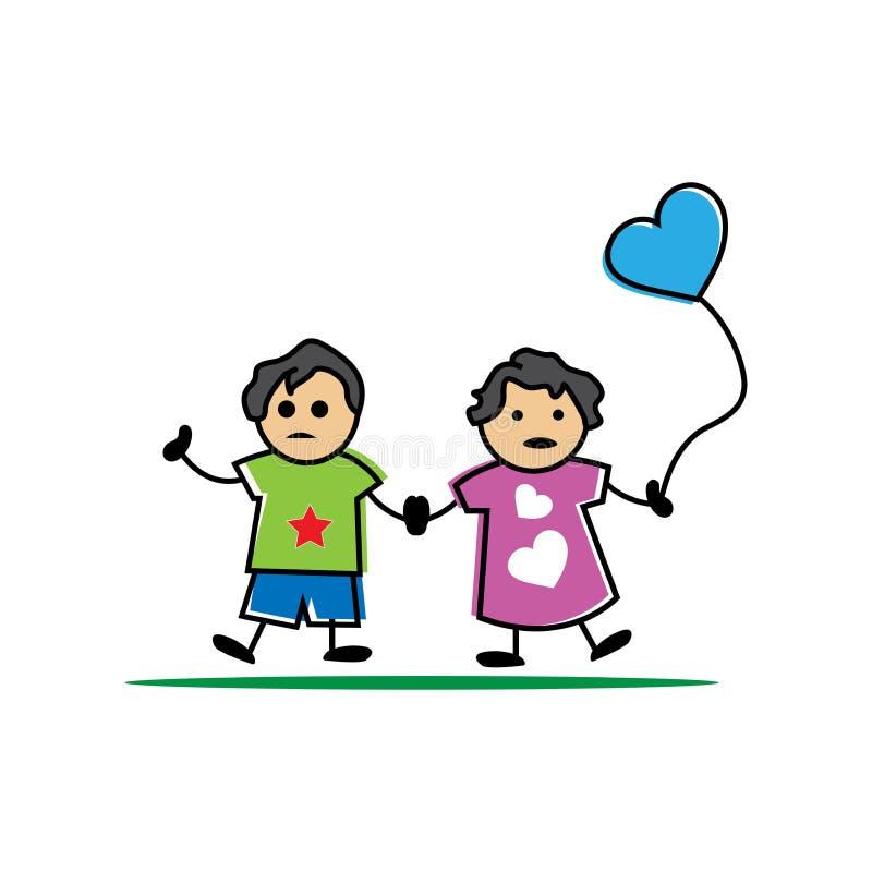 Pièce de frère et de soeur ensemble illustration stock