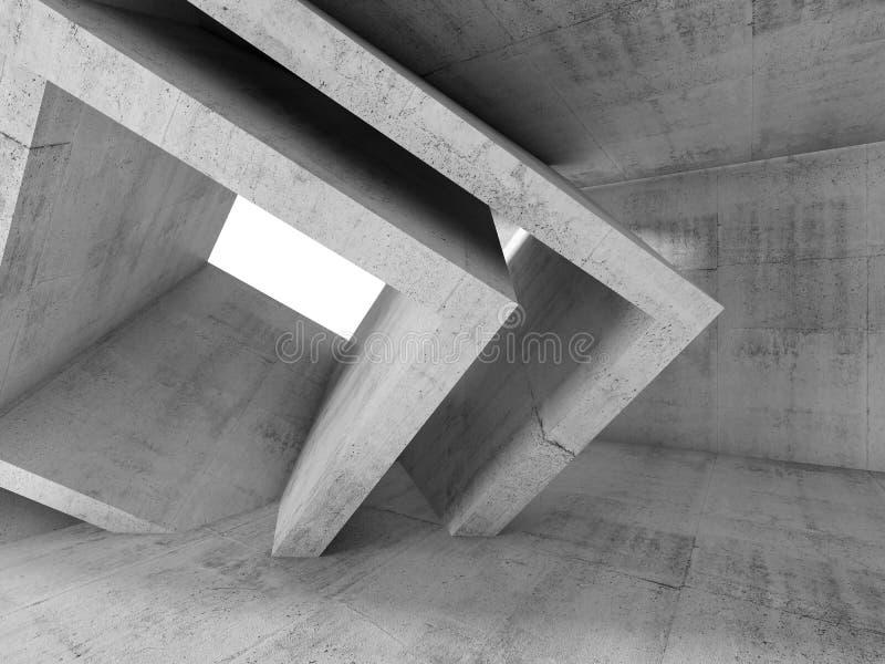 Pièce de Gray Concrete avec 3 structures cubiques de d illustration stock