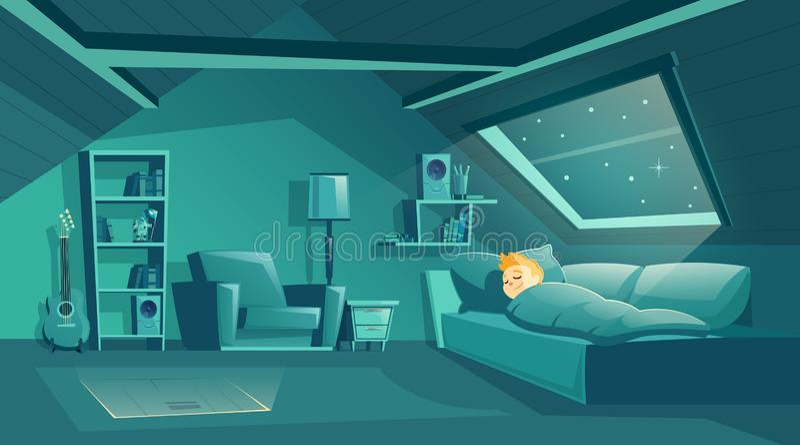 Pièce de grenier de vecteur la nuit avec le garçon de sommeil illustration stock