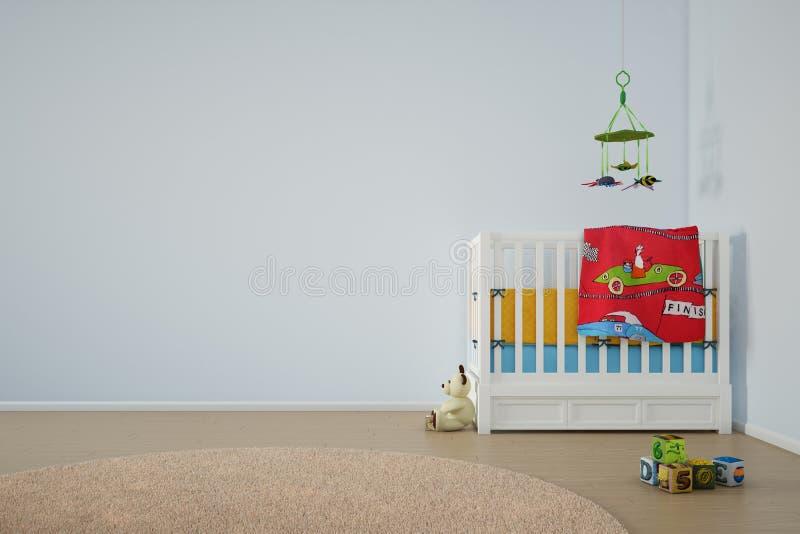 Pièce de jeu d'enfants avec le lit illustration de vecteur