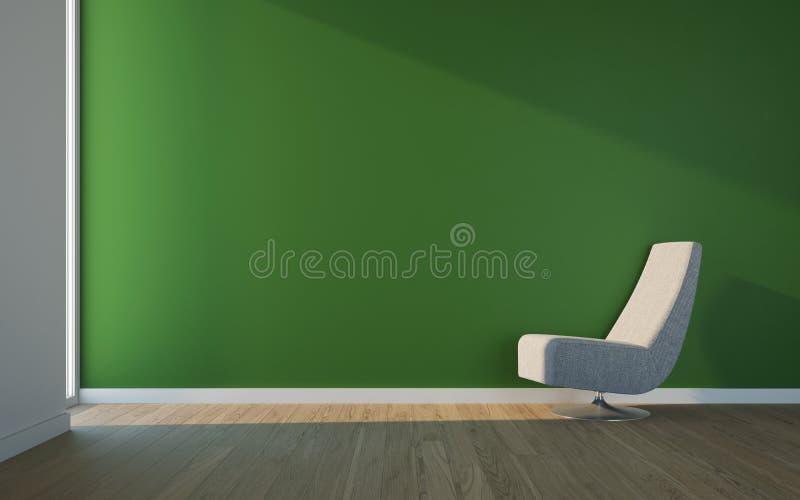 Pièce de loisirs avec le fauteuil et le mur vert image stock