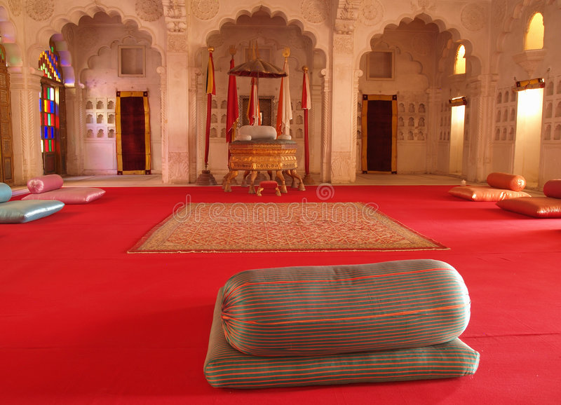Pièce de maharaja à l'intérieur de fort de Mehrangarh, Jodhpur photo libre de droits