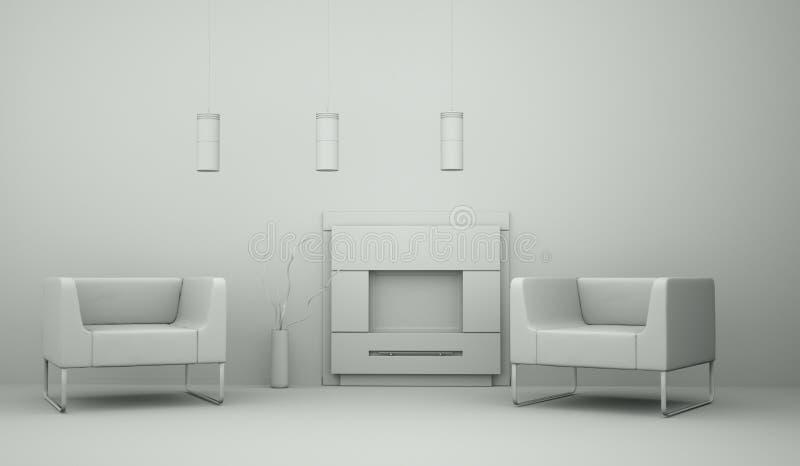 Pièce de modèle de conception intérieure avec des chaises illustration libre de droits
