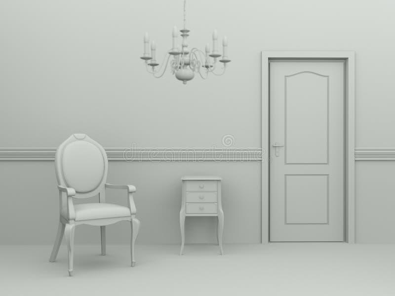 Pièce de modèle de conception intérieure avec la chaise illustration stock