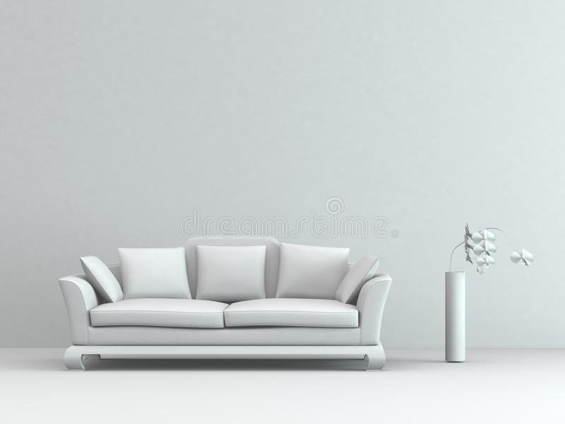 Pièce de modèle de conception intérieure avec le sofa illustration libre de droits