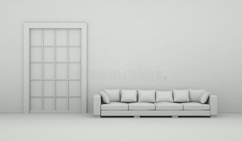 Pièce de modèle de conception intérieure avec le sofa illustration de vecteur