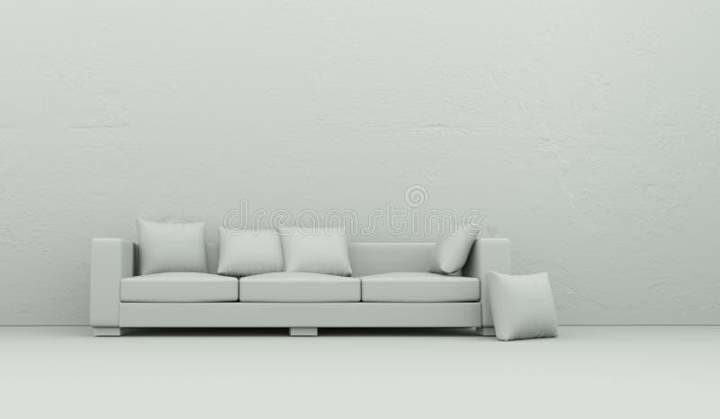 Pièce de modèle de conception intérieure avec le sofa illustration stock