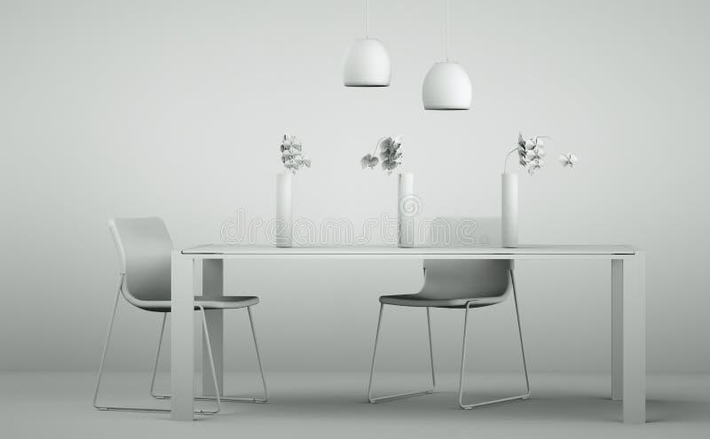 Pièce de modèle de conception intérieure avec les chaises et la table illustration libre de droits
