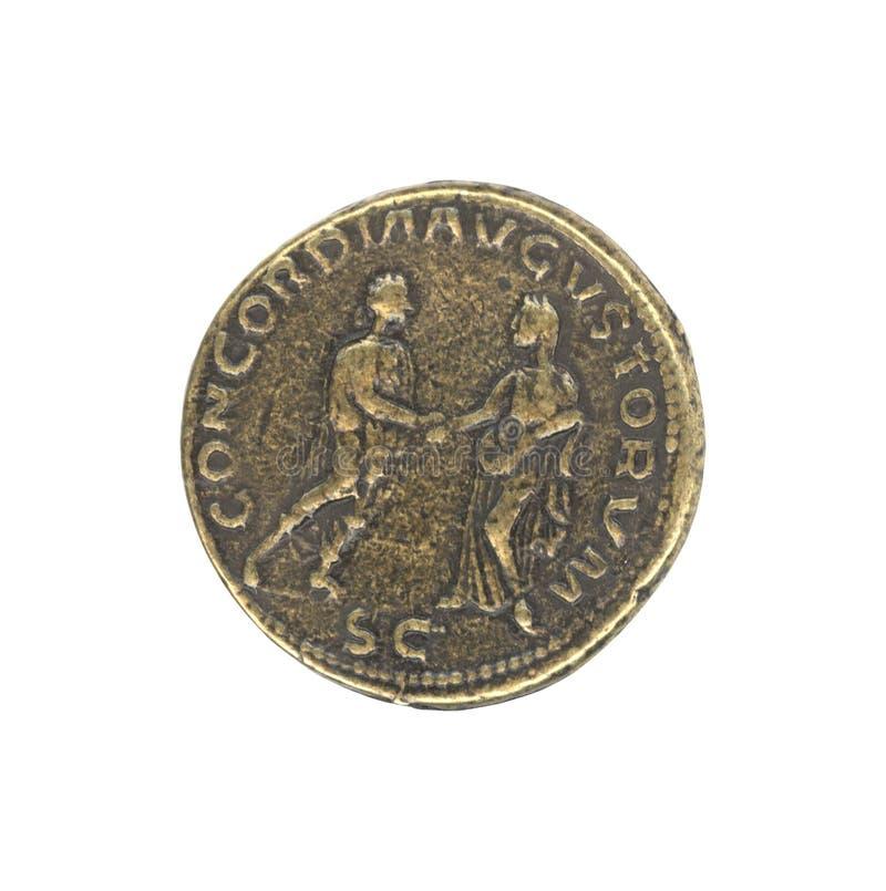Pièce de monnaie antique romaine photos libres de droits