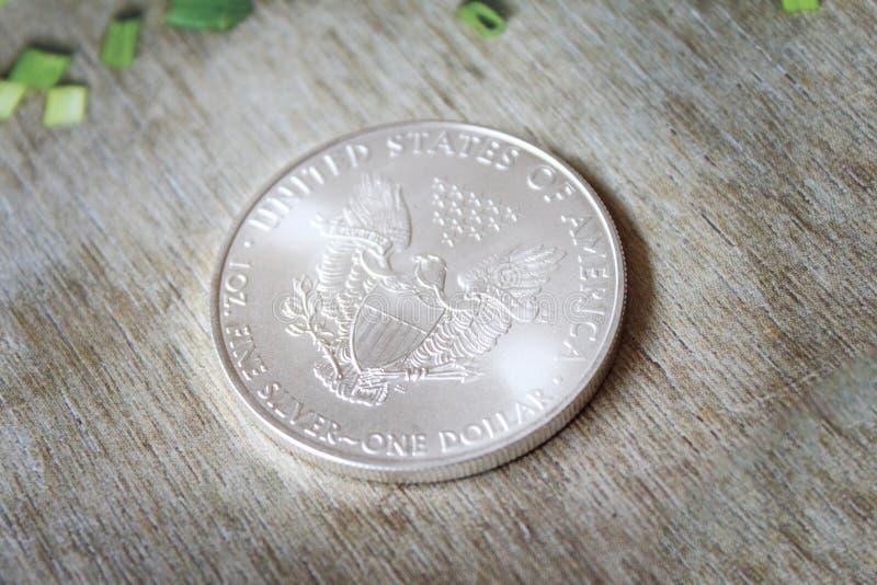 Pièce de monnaie argentée d'Eagle d'Américain images stock