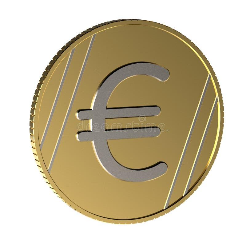 Pièce de monnaie avec un euro signe Pièce de monnaie avec la texture extérieure illustration 3D illustration stock
