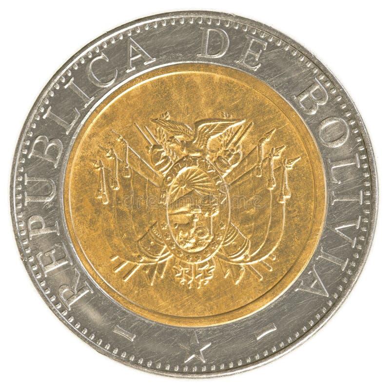 Pièce de monnaie bolivienne de cinq bolivianos photos stock