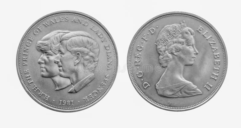 Pièce de monnaie de couronne d'argent de mariage de Charles 1981 et de Diana Royal photographie stock libre de droits