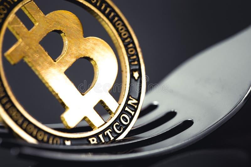 Pièce de monnaie de crytocurrency de Bitcoin sur la fourchette image stock