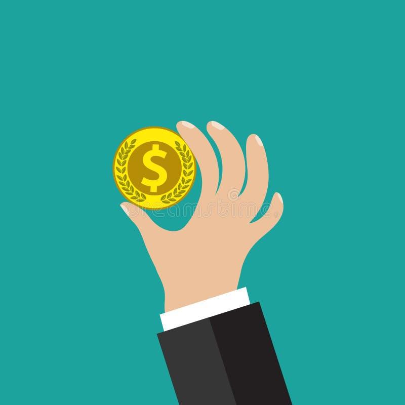 Pièce de monnaie d'or à disposition illustration de vecteur