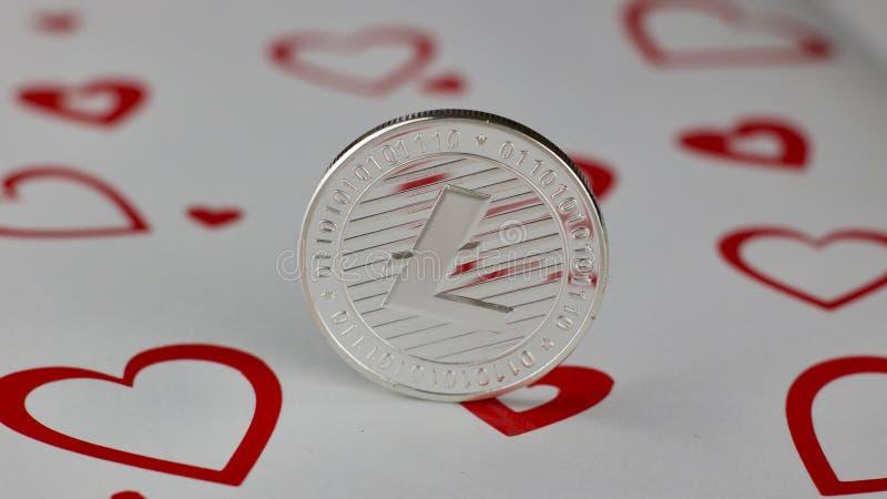 Pièce de monnaie d'amour de Litecoin image libre de droits