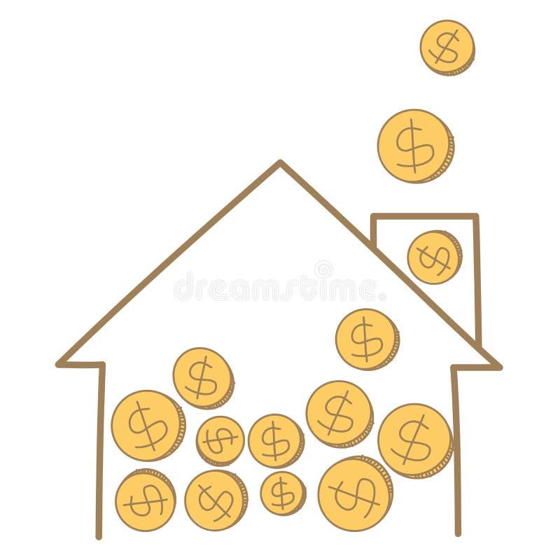 Pièce de monnaie d'argent tombant sur la trame de maison illustration libre de droits