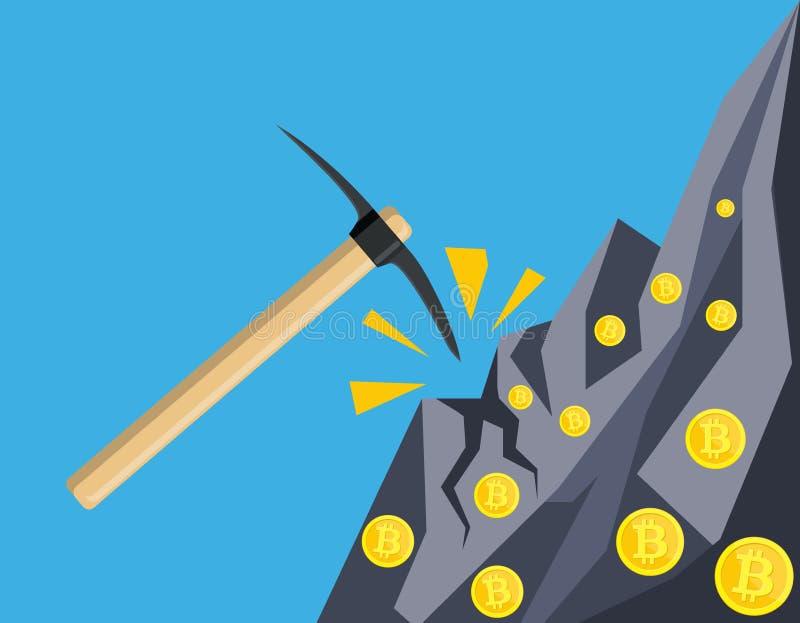 Pièce de monnaie d'or avec la puce et la pioche illustration stock