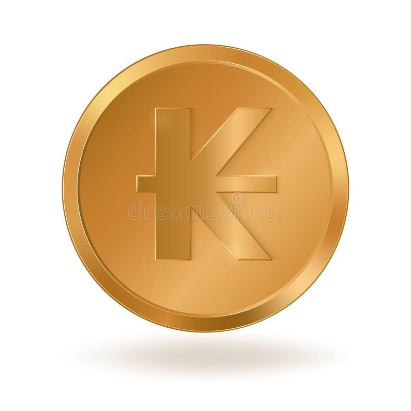 Pièce de monnaie d'or avec le signe Lao Kip illustration de vecteur