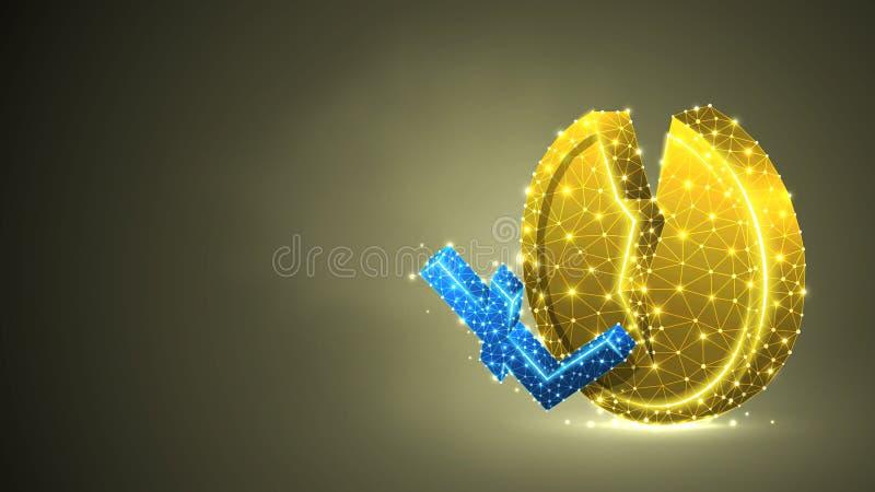 Pièce de monnaie d'or de cryptocurrency cassé de Litecoin Affaires polygonales, argent, accident du marché, concept de cercle R?s illustration de vecteur