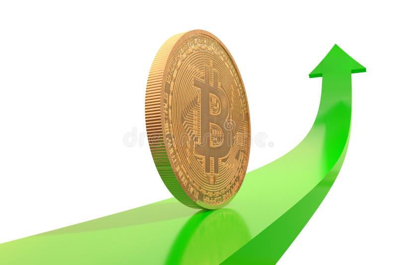 Pièce de monnaie d'or de bitcoin sur la flèche verte vers le haut illustration stock