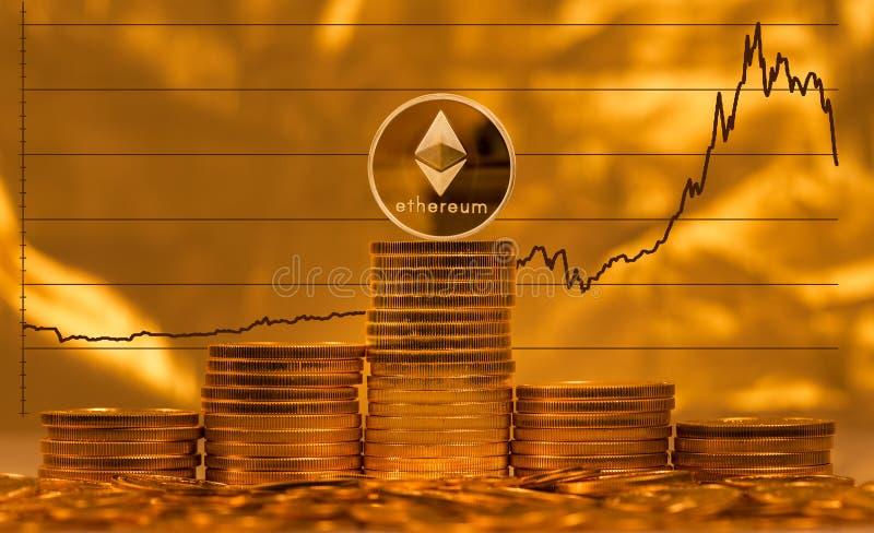 Pièce de monnaie d'Ethereum sur le fond du graphique des prix photo libre de droits