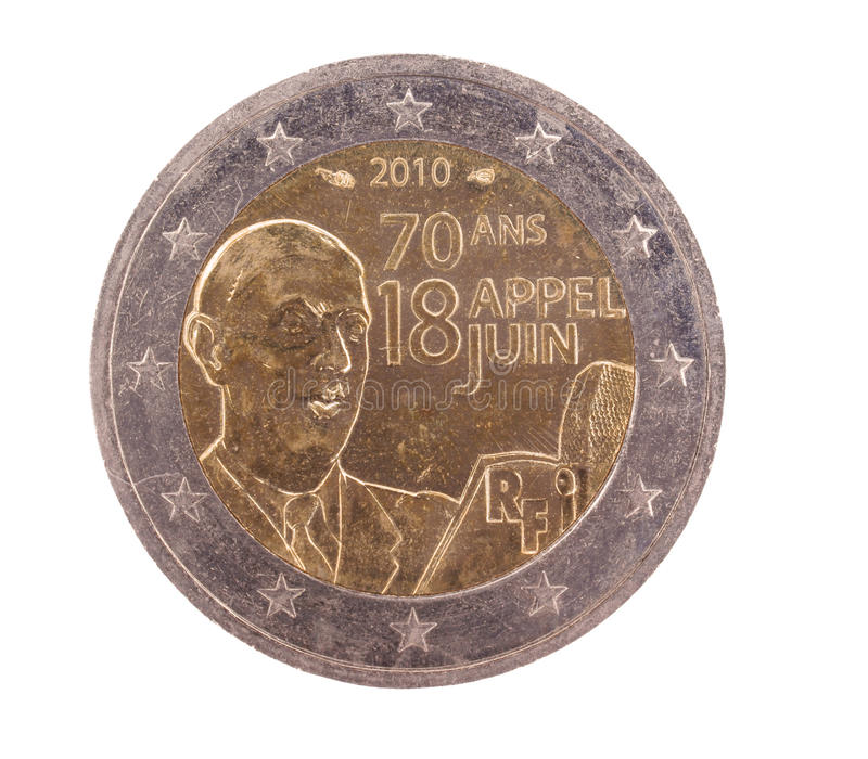Pièce de monnaie d'euro du Français 2 (derrière spécial) photos libres de droits