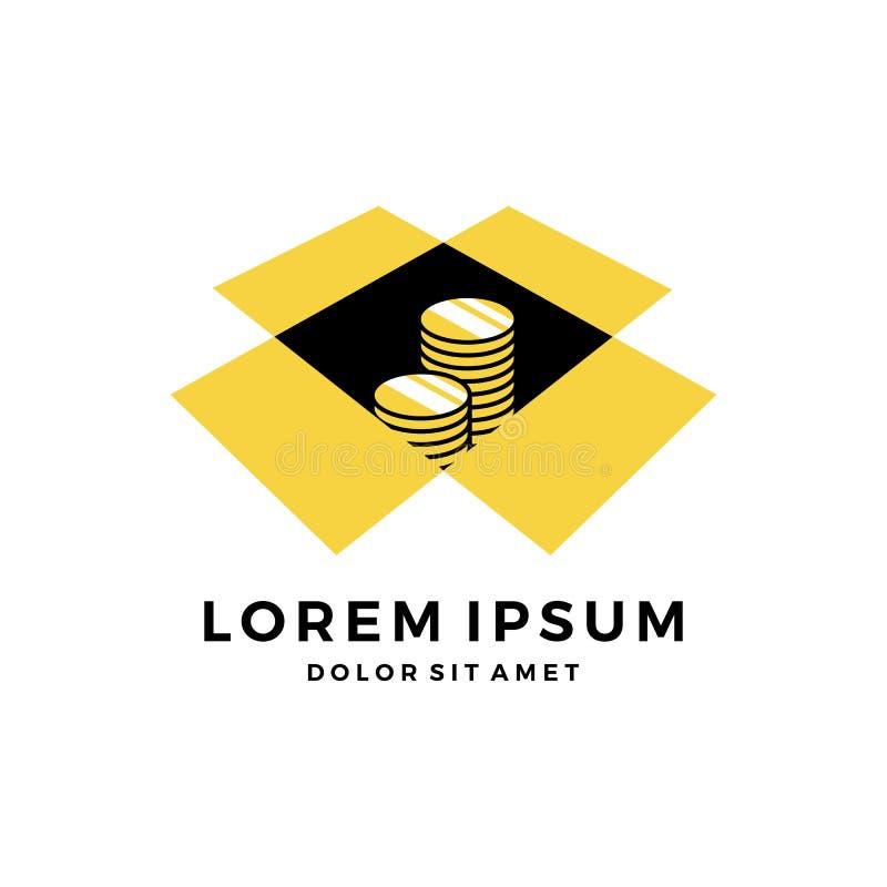 Pièce de monnaie dans le téléchargement de logo de boîte photographie stock