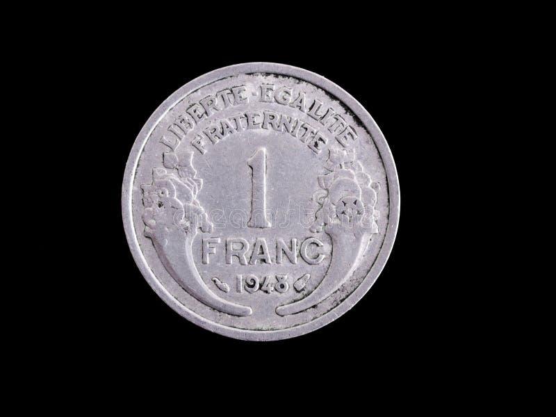 Pièce de monnaie de franc français de cru photographie stock libre de droits