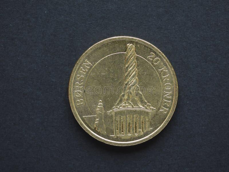 Pièce de monnaie de la couronne 20 danoise (DKK) photographie stock libre de droits