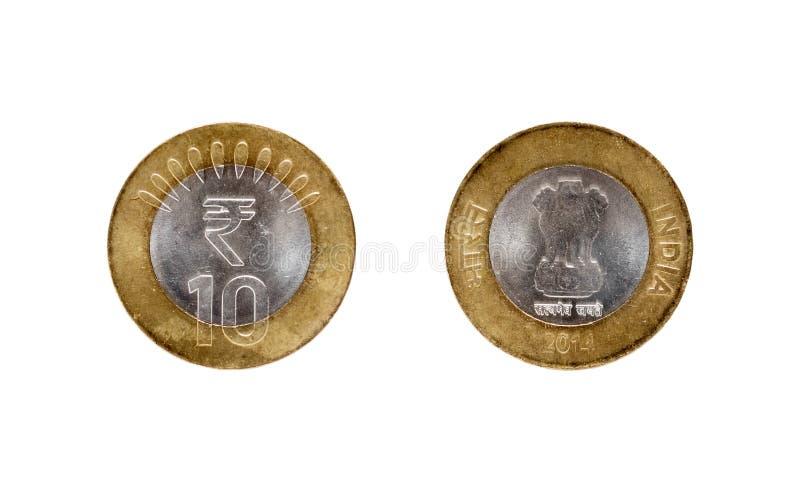 Pièce de monnaie de la roupie Dix indienne photos libres de droits