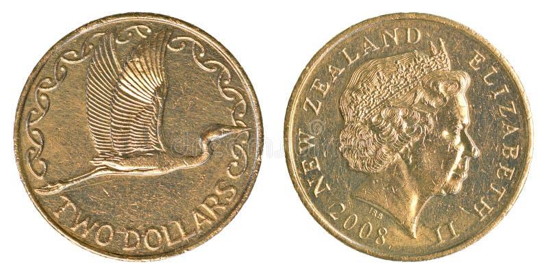 Pièce de monnaie des deux dollars de Nouvelle-Zélande photos libres de droits